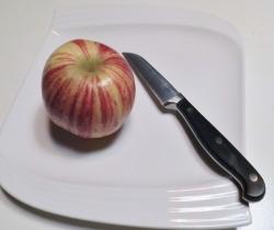 Fasten im Fliegerhorst ein Apfel auf sonst leerem Teller